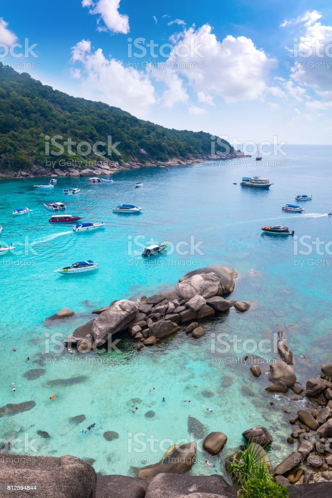 Beautiful crystal clear sea at tropical paradise island, Similan island, Andaman sea,'n Sea's most beautiful white sand beaches for relaxing summer and diving underwater beautiful ,Thailand stock photo