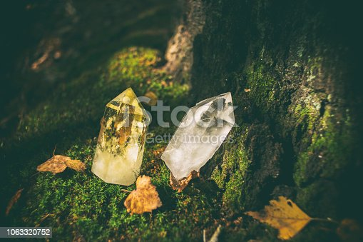 Beautiful, magical crystals standing in the forest.
