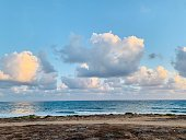 Beautiful  cumulus clouds above the sea