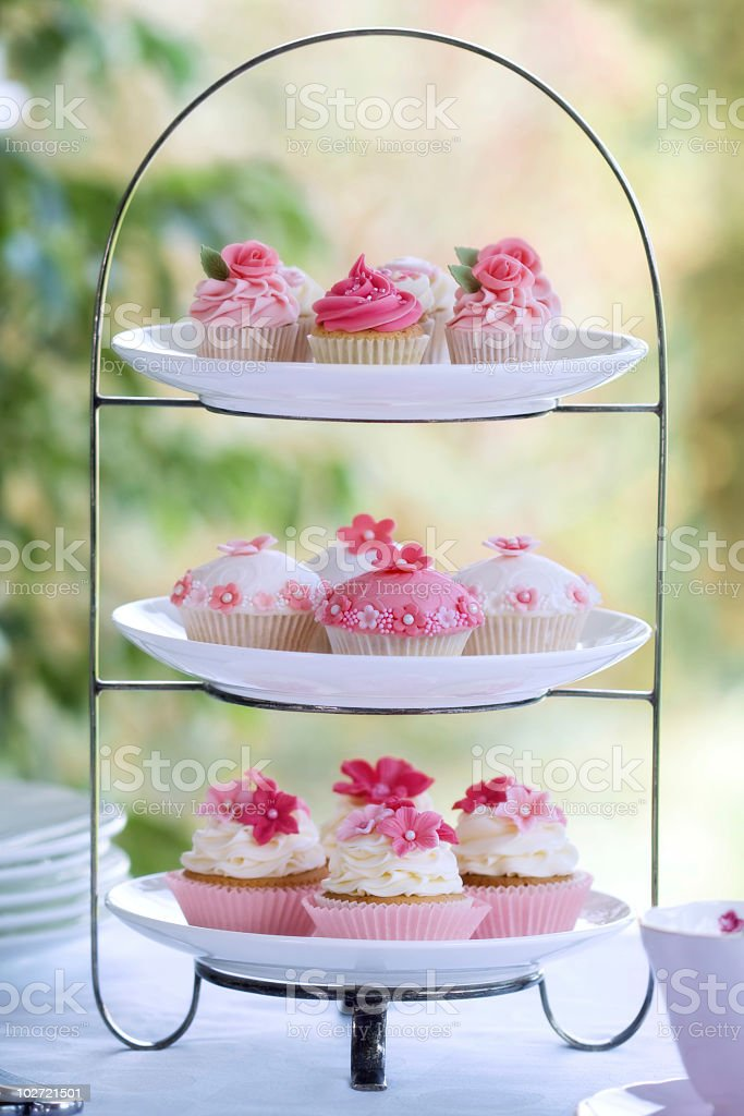 Beautiful cupcake display for afternoon tea royalty-free stock photo