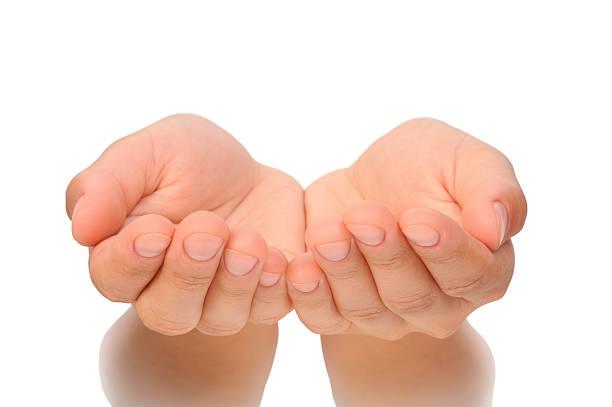 belas mãos em forma de concha de jovem-corte - dois objetos - fotografias e filmes do acervo
