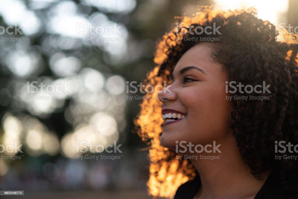 Beautiful Curly Hair Woman stock photo