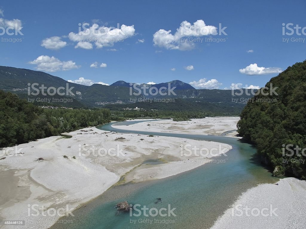 Beautiful curved blue river Tagliamento royalty-free stock photo