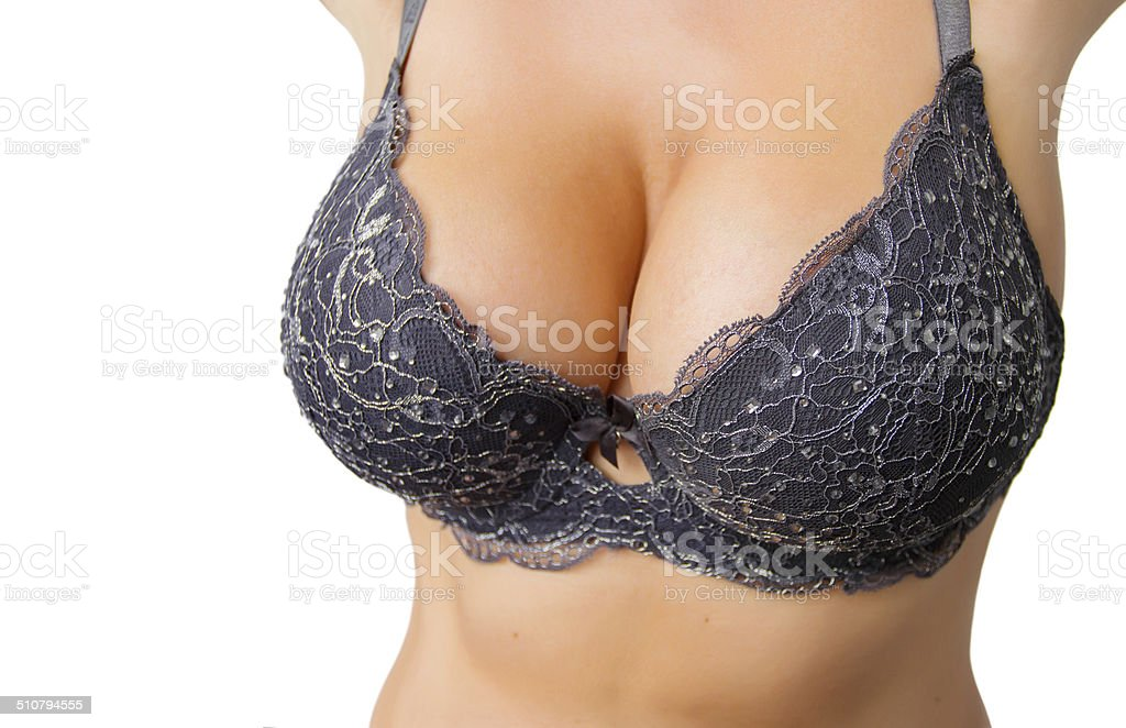 Beautiful curvy woman with big breasts in black bra​​​ foto