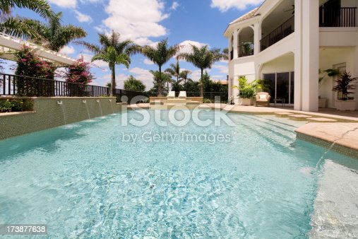 Beautiful custom backyard luxury pool captured on a sunny spring day