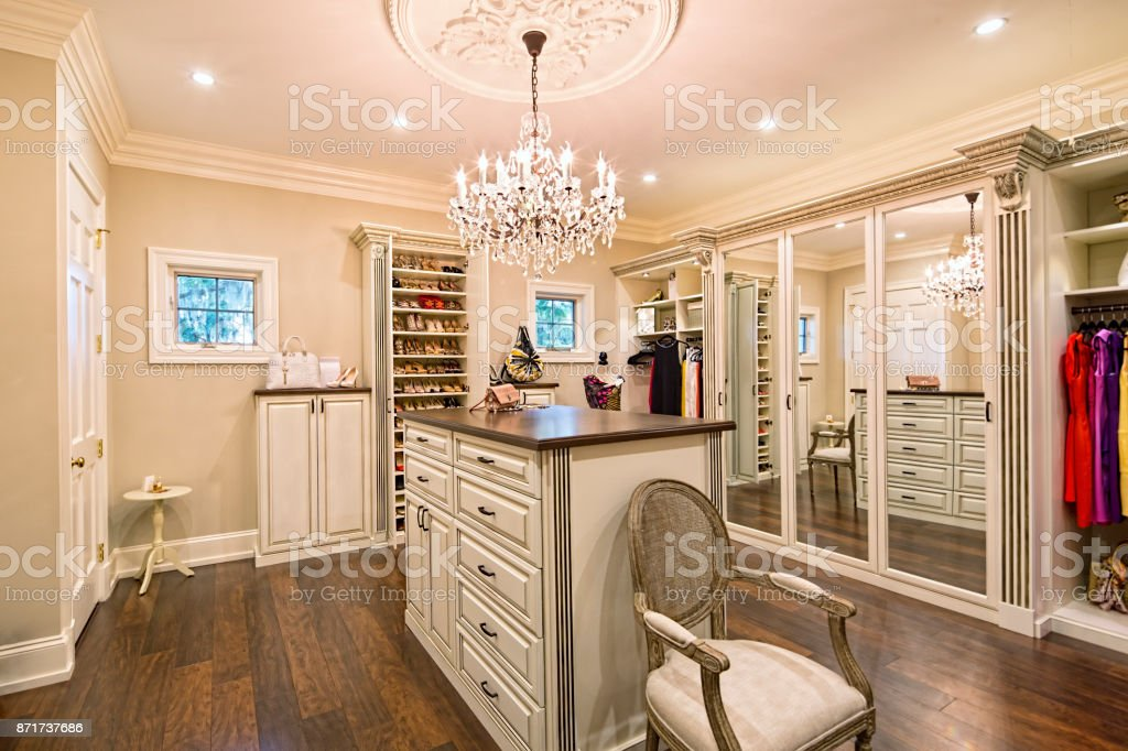Beautiful custom closet in an estate home stock photo