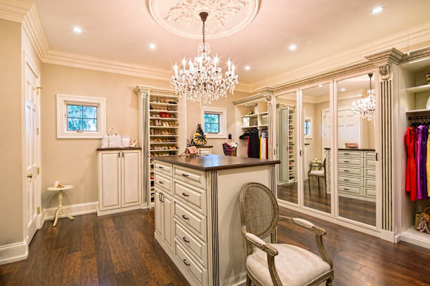 Beautiful custom closet in an estate home stock photo