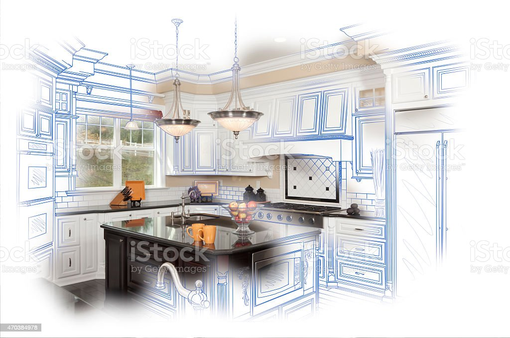 Beautiful Custom Kitchen Design Drawing and Photo Combination stock photo