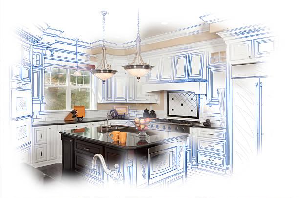 wunderschöne individuelle küche design zeichnen und foto-kombination - küche neu gestalten ideen stock-fotos und bilder