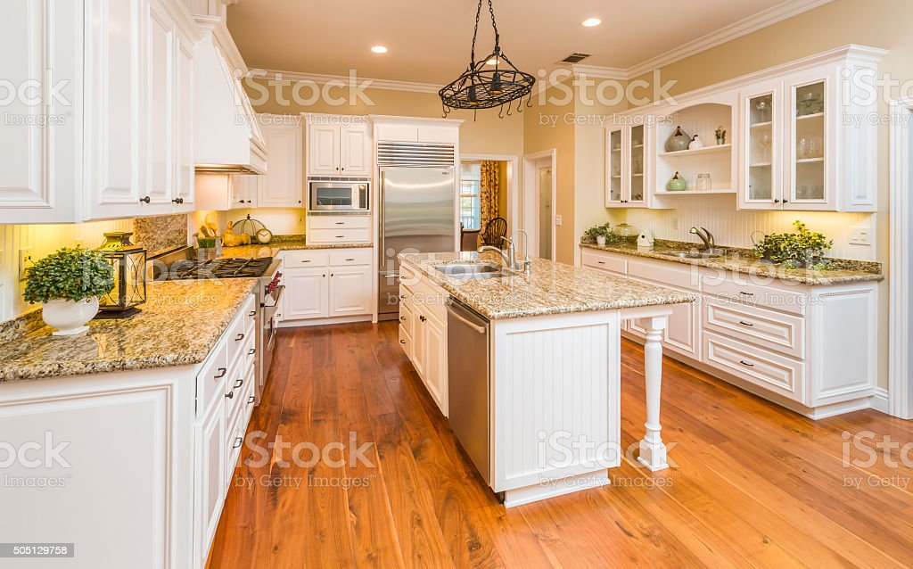 Beautiful Custom Kitchen Interior stock photo