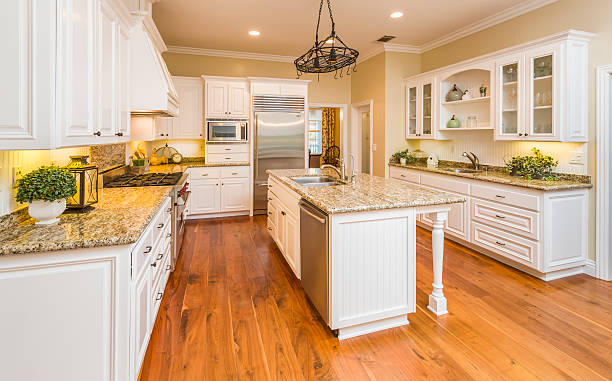 beautiful custom kitchen interior - lövträ bildbanksfoton och bilder