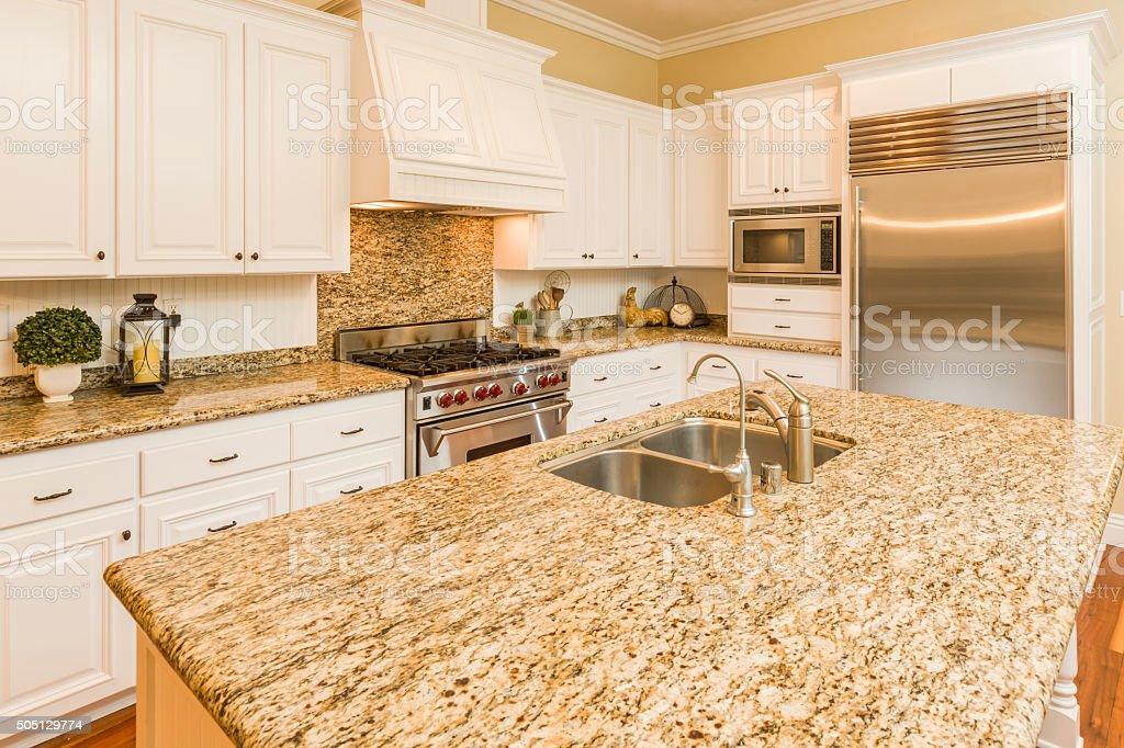 Beautiful Custom Kitchen Interior stock photo