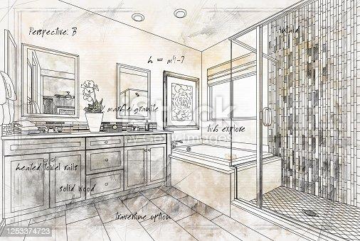 Beautiful Custom Master Bathroom Design Drawing Details.