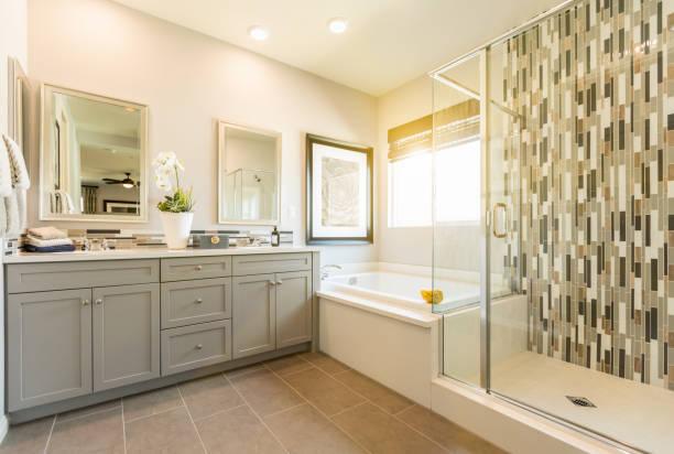 lindo banheiro master custom - banheiro instalação doméstica - fotografias e filmes do acervo