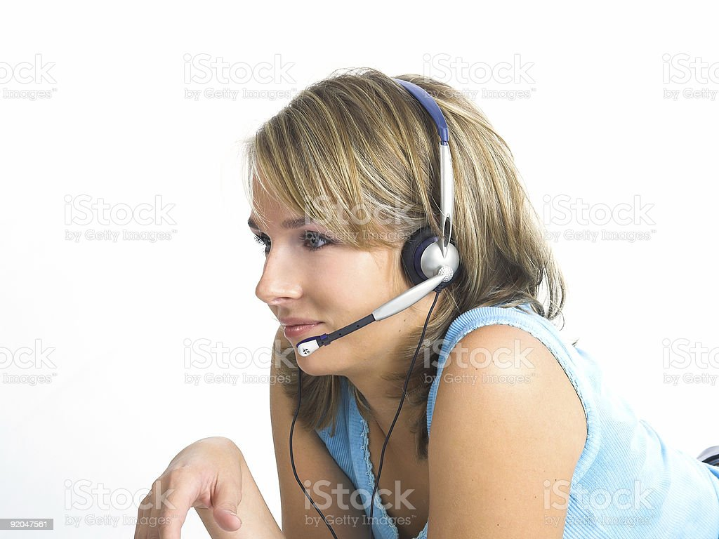 Beautiful Customer Support Girl over white royalty-free stock photo