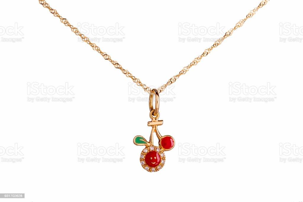 2d9a8d973a64 Schöne süße Baby   Kinder Halskette Schmuck mit dem roten Kirsche Anhänger  in Gelbgold und Diamanten