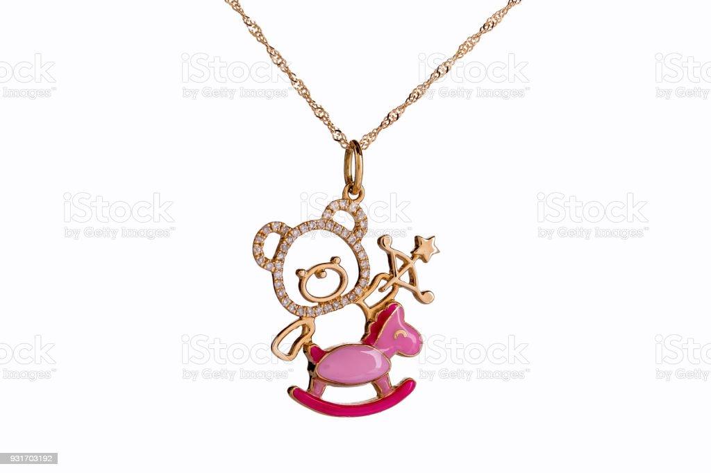 a6152e2d4d28 Schöne süße Baby   Kinder Halskette Schmuck mit dem Teddy-Bär-Anhänger in  Gelbgold