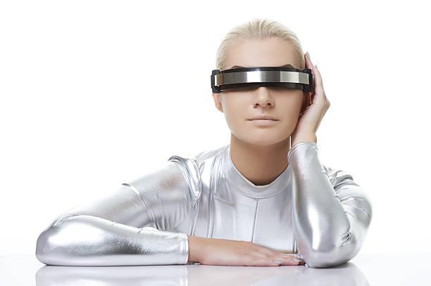 Beautiful cyber woman stock photo
