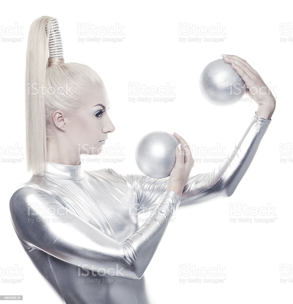 Beautiful cyber woman with silver ball royalty-free stock photo