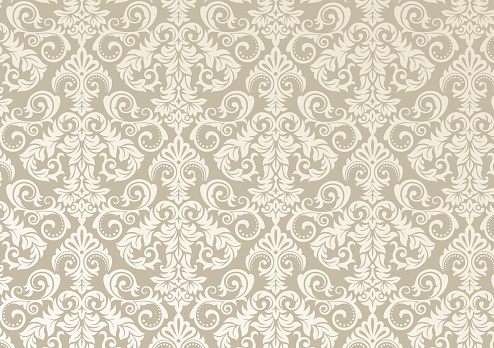 Beautiful damask pattern of brown and beige colors. Royal design with floral ornament. Seamless wallpaper with a damascus tile texure. Raster illustration.