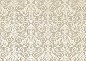 istock Beautiful damask pattern of brown and beige colors. Royal design with floral ornament. 1262044026