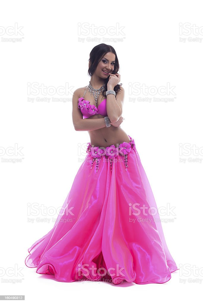 Beautiful dancer in pink costume royalty-free stock photo