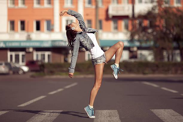 beautiful dancing girl on a street - street dance bildbanksfoton och bilder