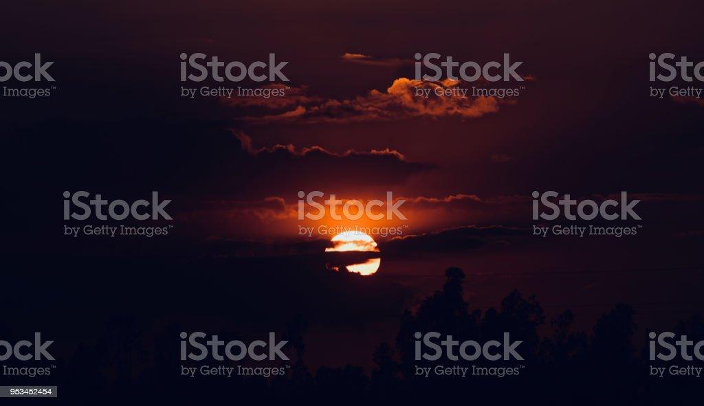 Beautiful dark sunset isolated unique photo stock photo