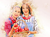 Beautiful daughter and mother holding red apple at public park on watercolor illustration painting background.