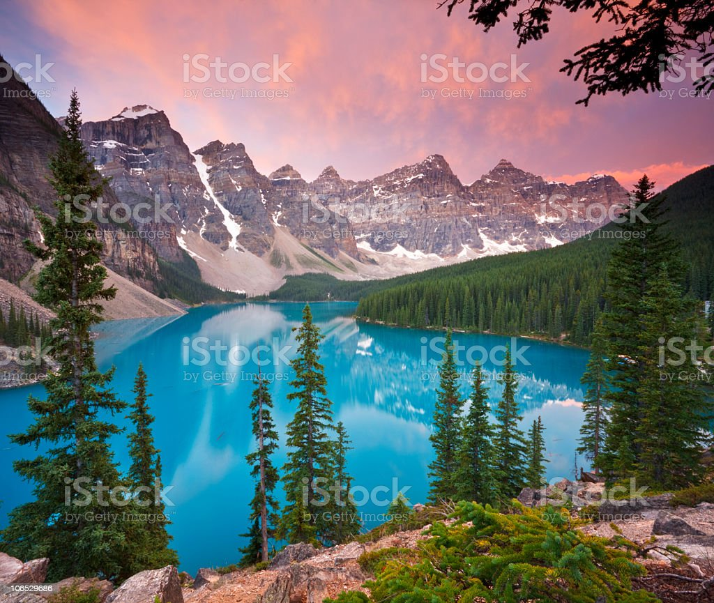 Beautiful Dawn at Moraine Lake stock photo