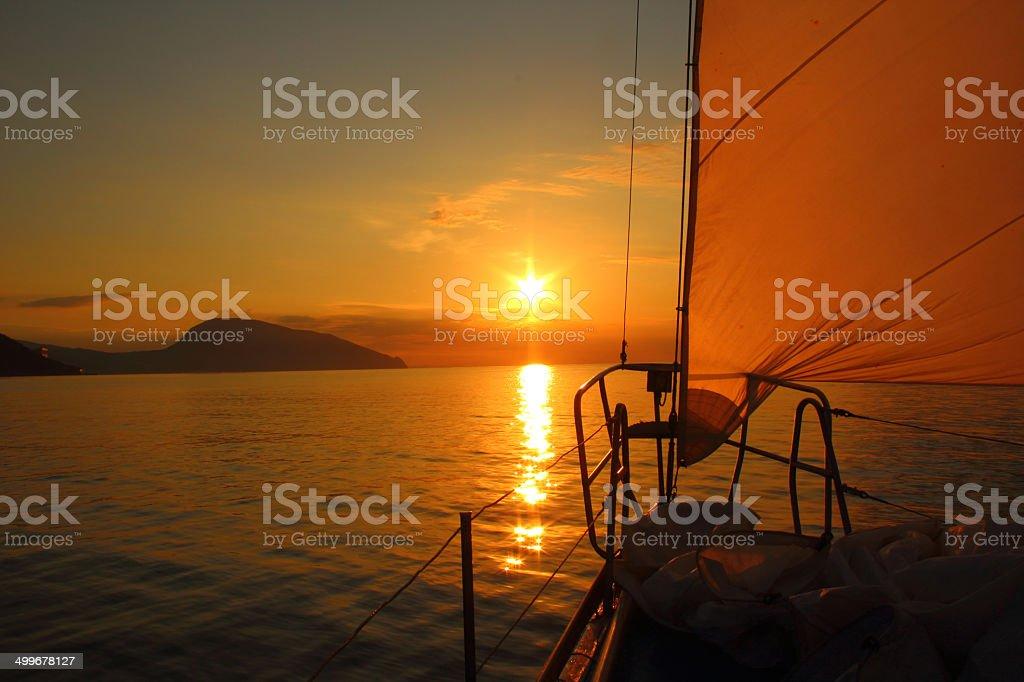 beautiful dawn sailing stock photo