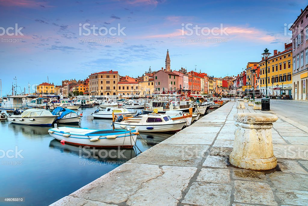Beautiful dawn with Rovinj old town,Istria region,Croatia,Europe stock photo