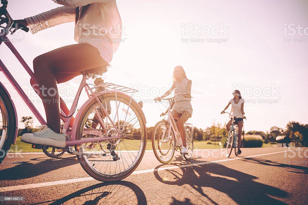 Beautiful day for cycling. stock photo