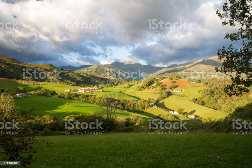 A beautiful day for this amazing view across the Pyrenees Mountain Ranges stock photo