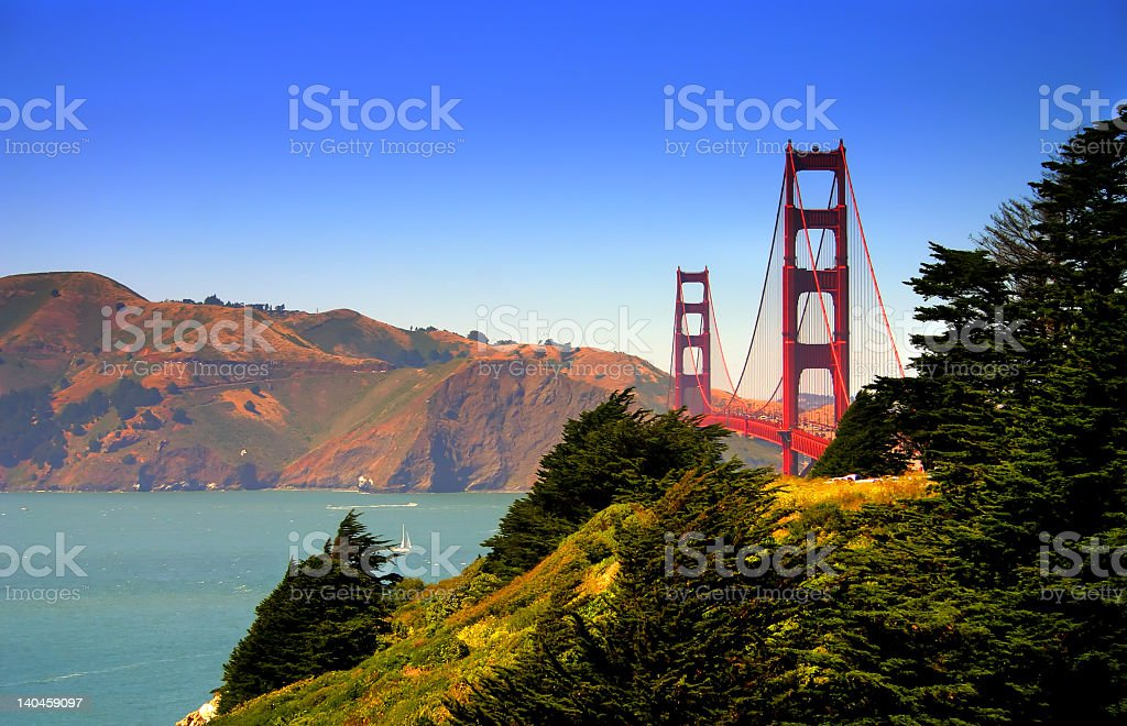 Beautiful day near Golden Gate Bridge against clear blue sky royalty-free stock photo