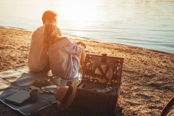 schönen tag mit ihnen verbracht - romantisches picknick stock-fotos und bilder