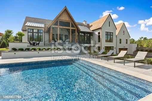 istock Beautiful day to be spent poolside in the back of your luxury home 1263907794