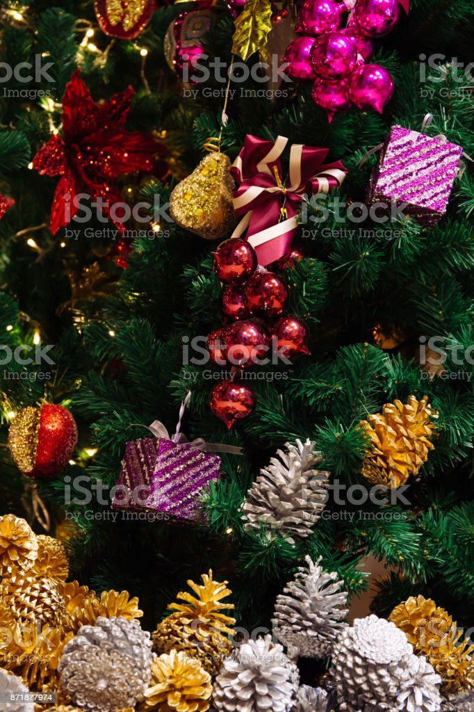 Beautiful Decorated Christmas Tree Background With Pine Nuts Under ...