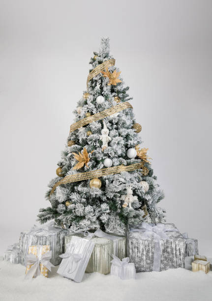 Beautiful decorated christmas tree in gold and white colors in front of a white background stock photo