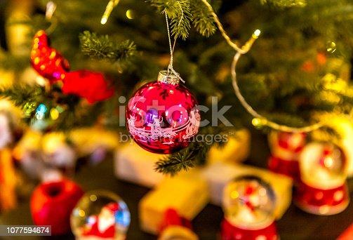istock Beautiful decorated Christmas tree 1077594674