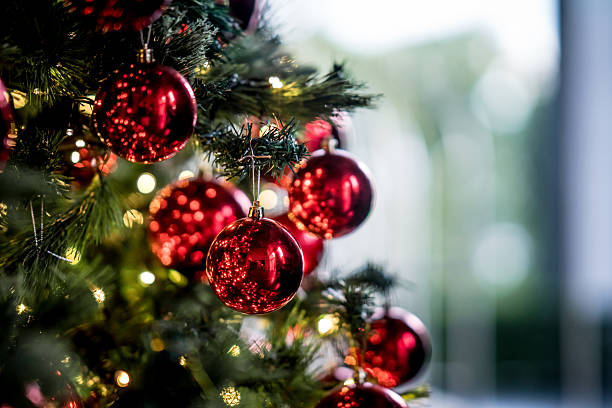 beautiful decorated christmas tree - christmas tree stock photos and pictures
