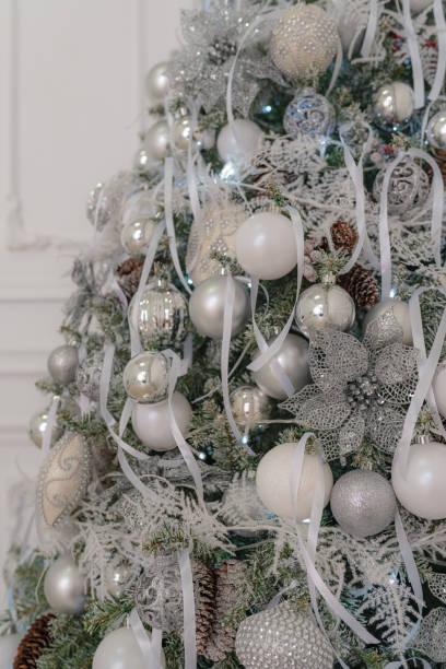 Beautiful decorated Christmas tree.Soft focus stock photo