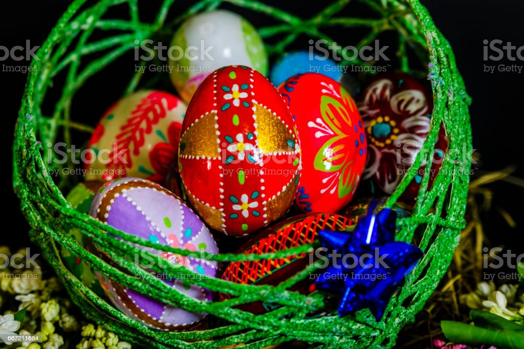 Beautiful decorated Easter eggs royalty-free stock photo