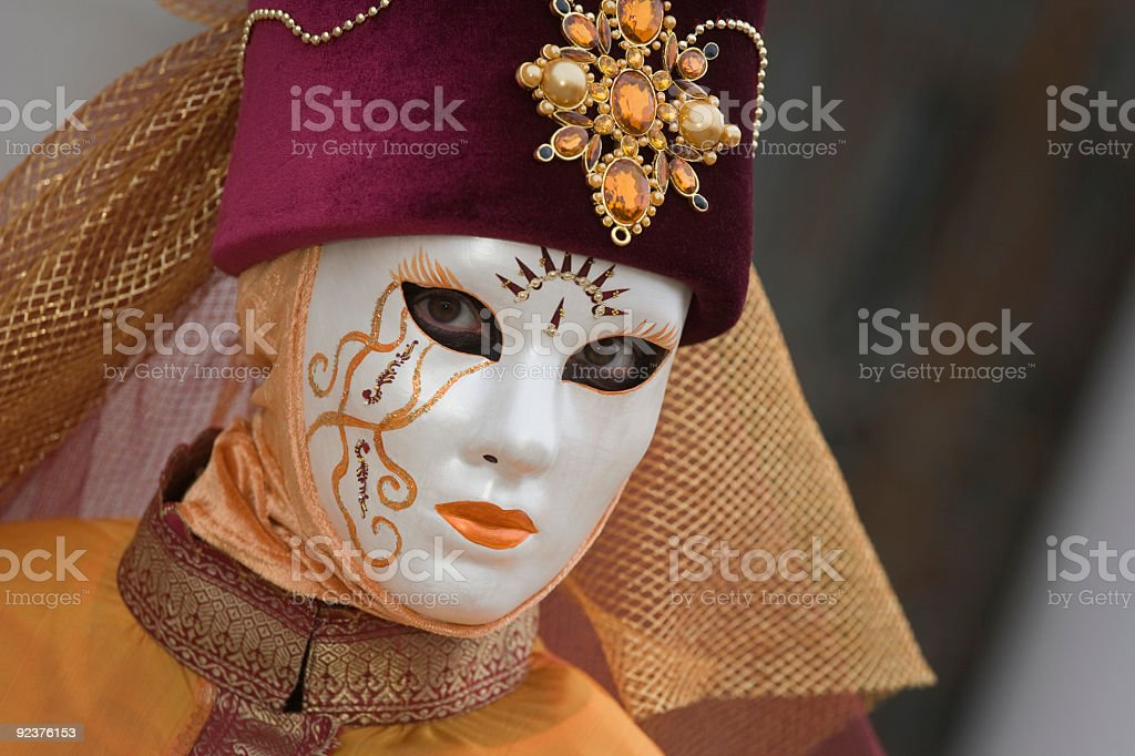 Beautiful decorated female mask at Carnival in Venice (XXL) royalty-free stock photo