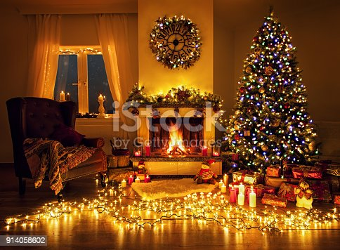 Beautiful decorated living room for christmas and fireplace