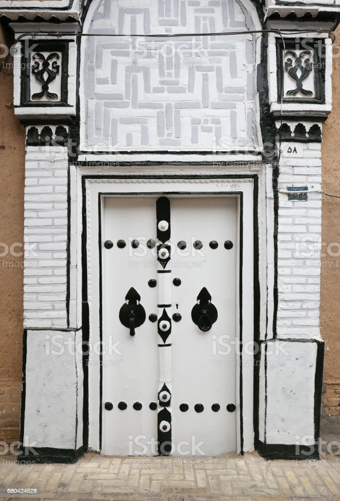 Beautiful decorated old Persian white door with black detail in Yazd Iran royalty-free & Beautiful Decorated Old Persian White Door With Black Detail In Yazd ...