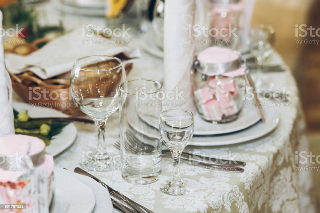 Beautiful Decorated Setting On Centerpiece Table With Stylish