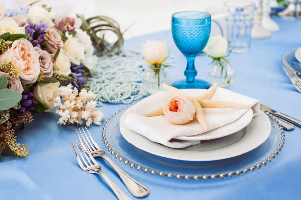 beautiful decorations on a wedding party - blue table setting stock photos and pictures