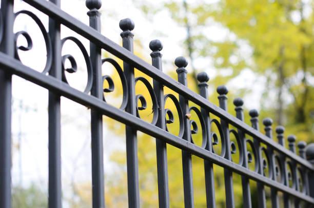 beautiful decorative cast metal wrought fence with artistic forging. iron guardrail close up. - staccionata foto e immagini stock