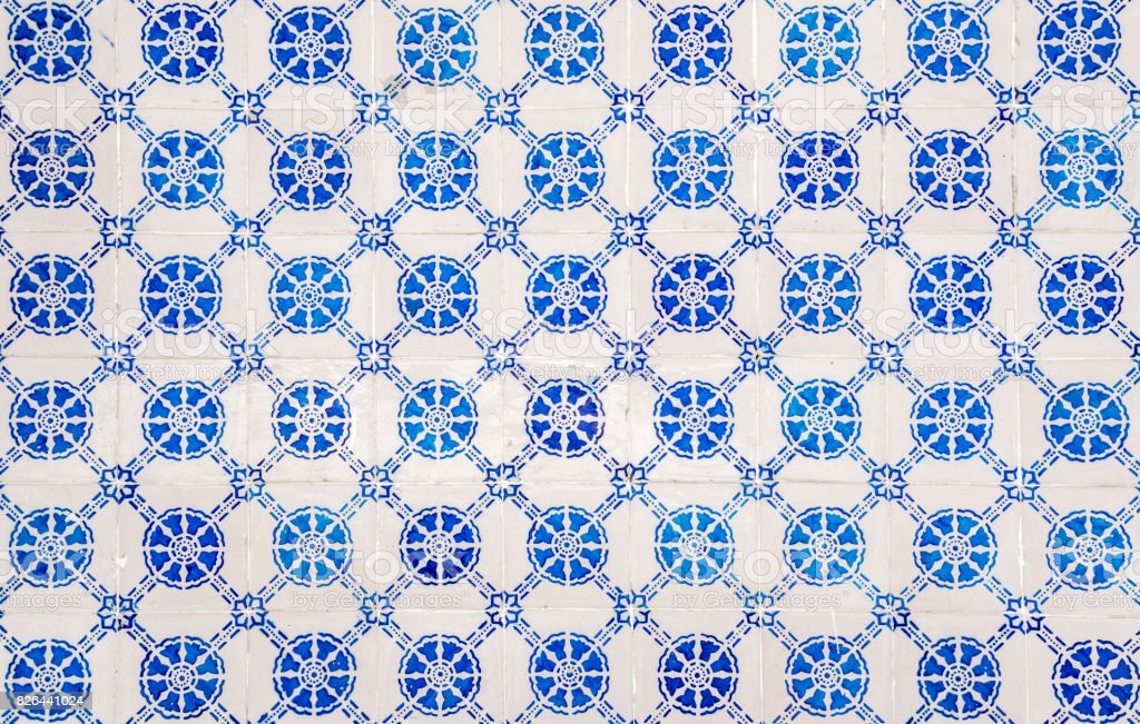 Beautiful decorative traditional ceramic tiles pattern from Portugal. stock photo